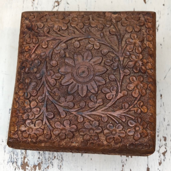 Vintage Carved Wooden Jewelry Box Boho